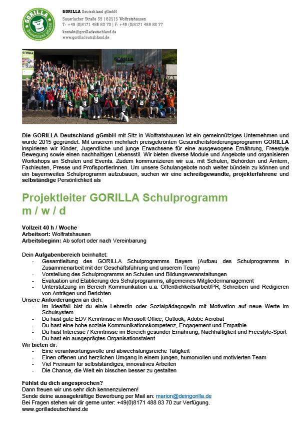 Projektleiter GORILLA Schulprogramm