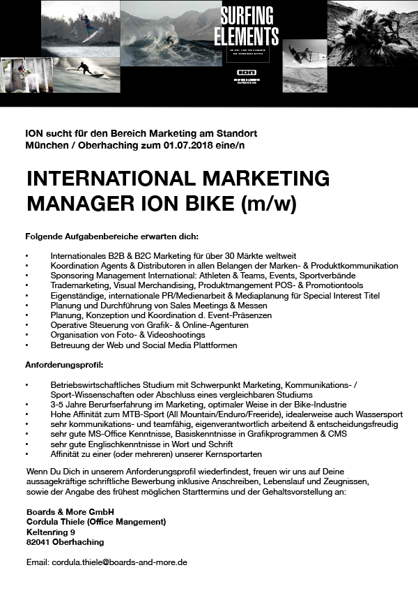 INT. MARKETING MANAGER ION BIKE (m/w)
