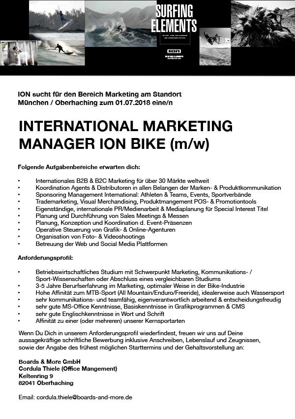 INT. MARKETING MANAGER ION BIKE (m/w)