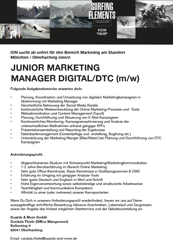 Junior Marketing Manager Digital/ DTC (m/w)