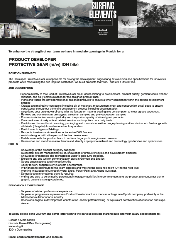 PRODUCT DEVELOPER PROTECTIVE GEAR (m/w)