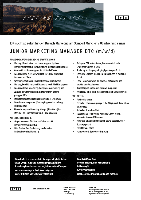 JUNIOR MARKETING MANAGER DTC (m/w/d)