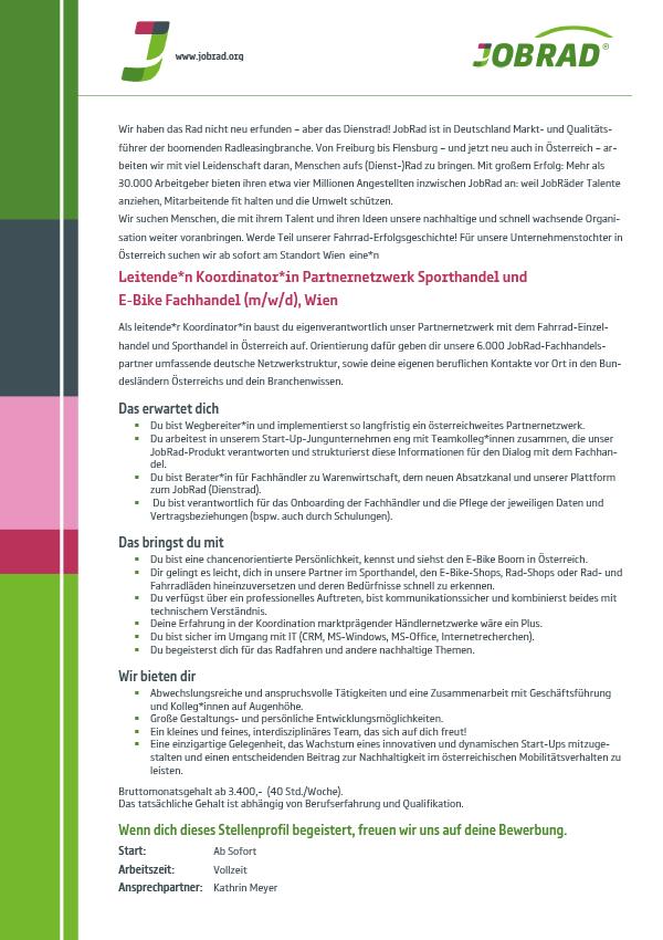 Leitende*n Koordinator*in Partnernetzwerk Sporthandel und E-Bike Fachhandel (m/w/d)
