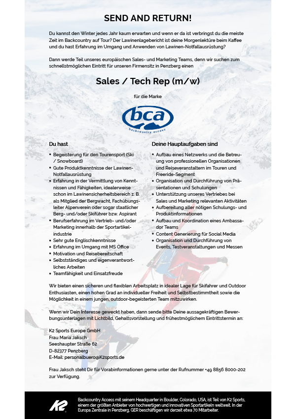 BCA - Sales / Tech Rep (m/w)