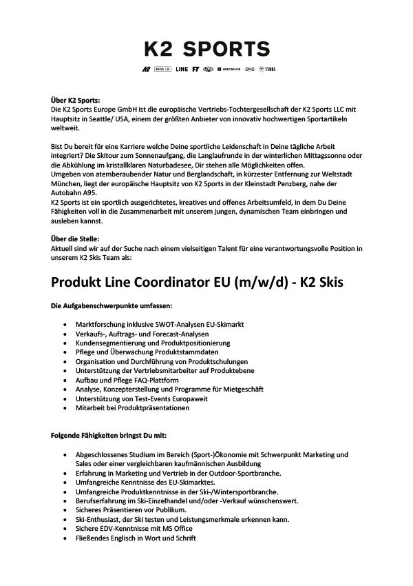 Produkt Line Coordinator EU (m/w/d) - K2 Skis