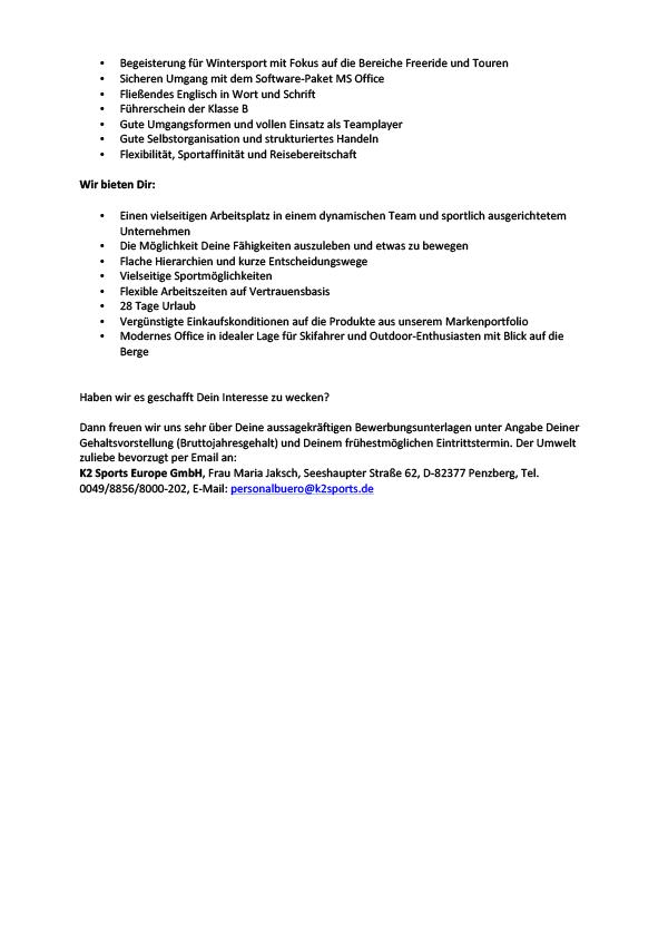 Sales & Marketing Coordinator (m/w/d) Backcountry Access (BCA)