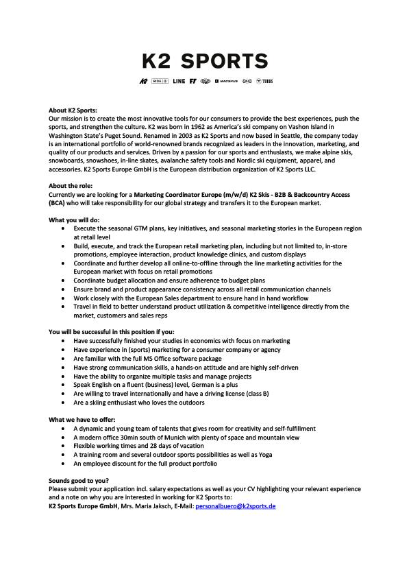 Marketing Coordinator Europe (m/w/d) K2 Skis - B2B & Backcountry Access (BCA)