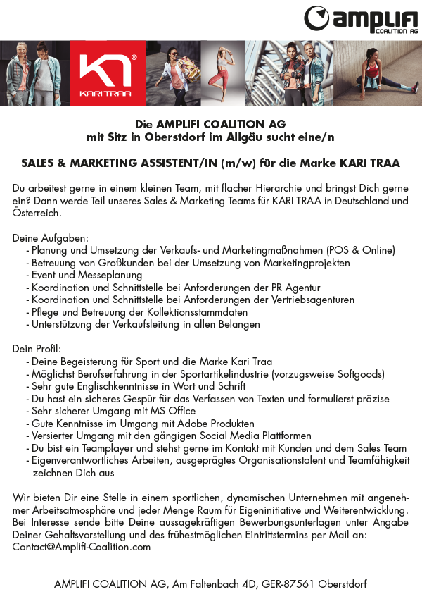 SALES & MARKETING ASSISTENT/IN (m/w)