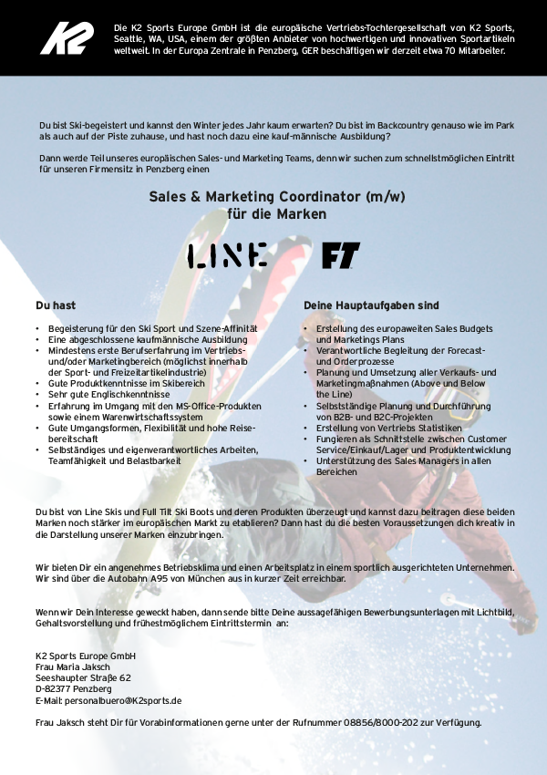 Sales & Marketing Coordinator (m/w) Line & Full Tilt
