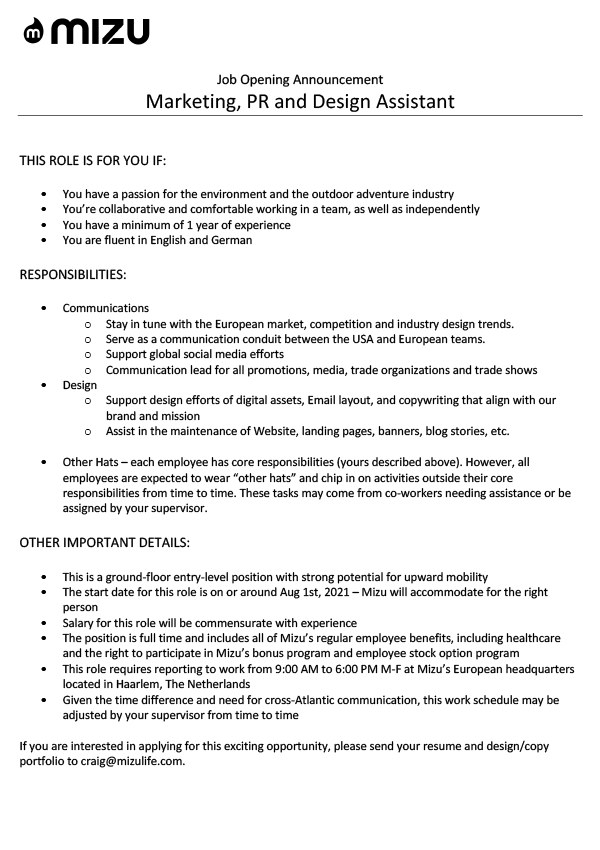 Marketing, PR and Design Assistant (m/w/d)