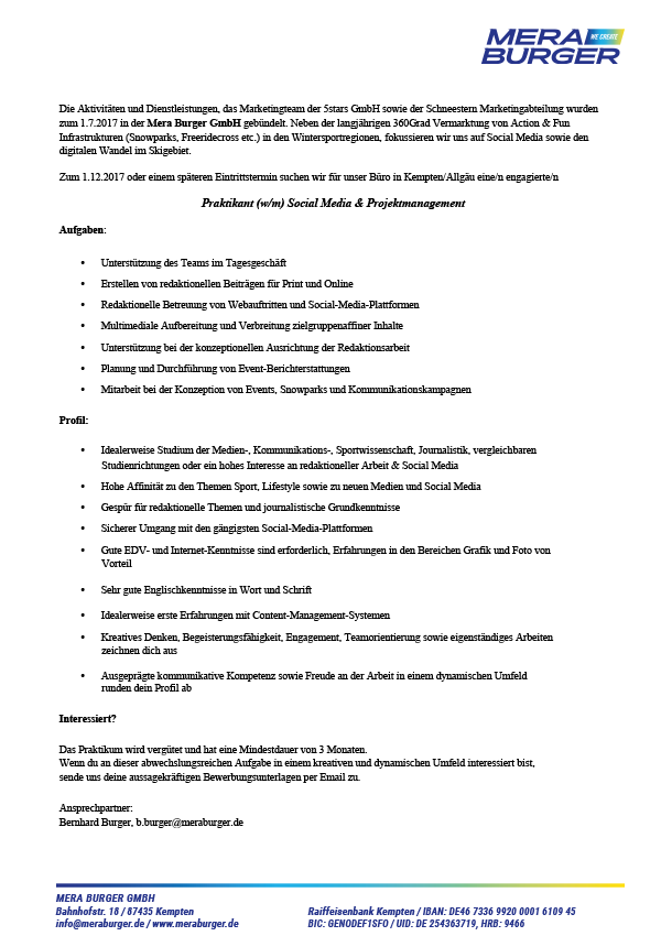Praktikant (w/m) Social Media & Projektmanagement