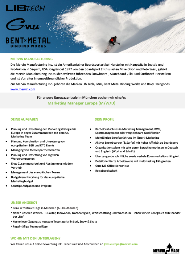 Marketing Manager Europe (M/W/D)