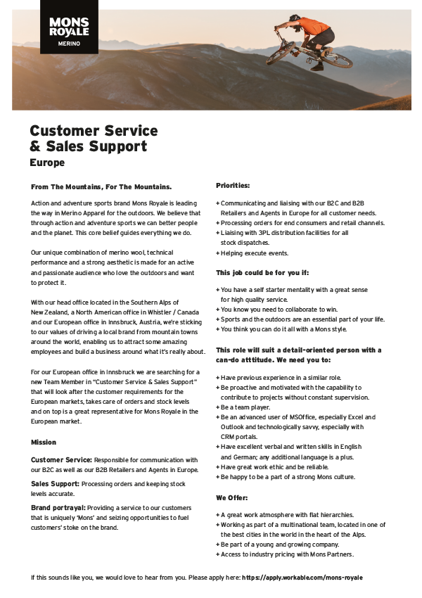 CUSTOMER SERVICE & SALES SUPPORT