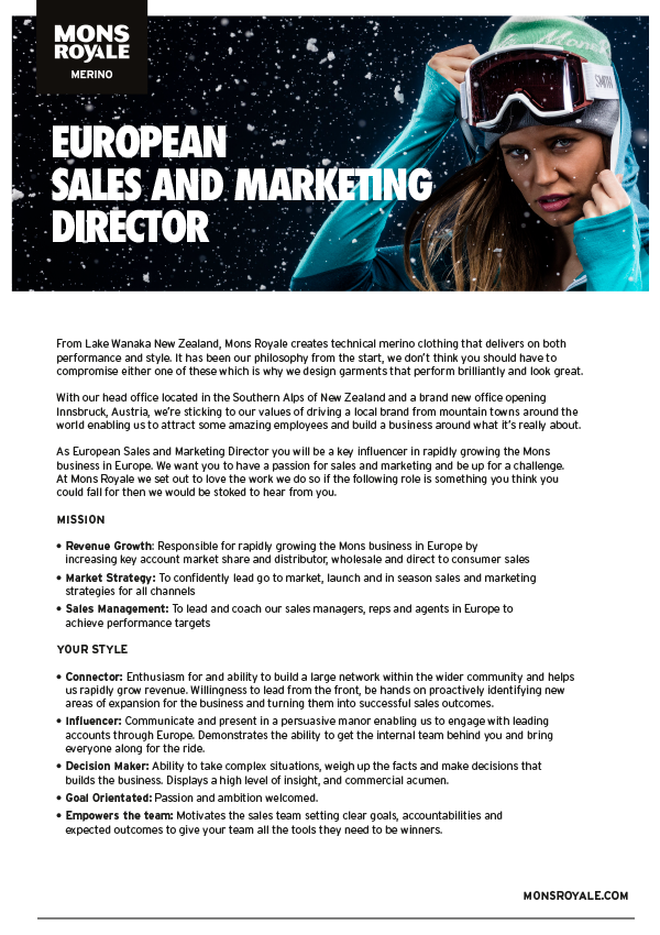Sales and Marketing Director