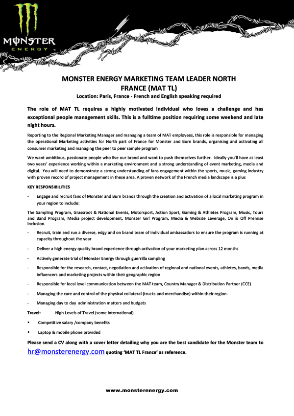 MONSTER ENERGY MARKETING TEAM LEADER NORTH FRANCE