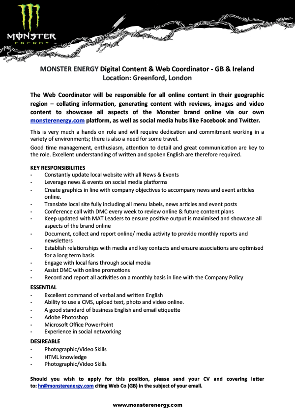 Digital Content & Web Coordinator - GB & Ireland