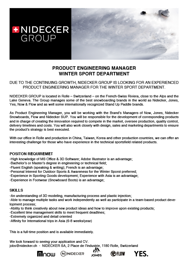 PRODUCT ENGINEERING MANAGER Winter