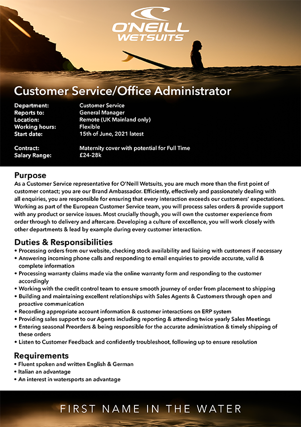 Customer Service/Office Administrator