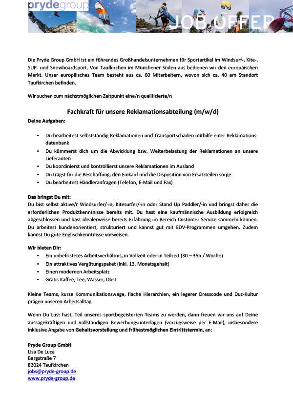 Fachkraft Reklamationsabteilung (m/w/d)