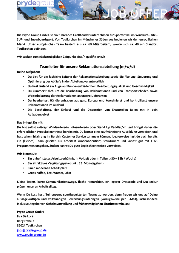 Teamleiter Reklamationsabteilung (m/w/d)