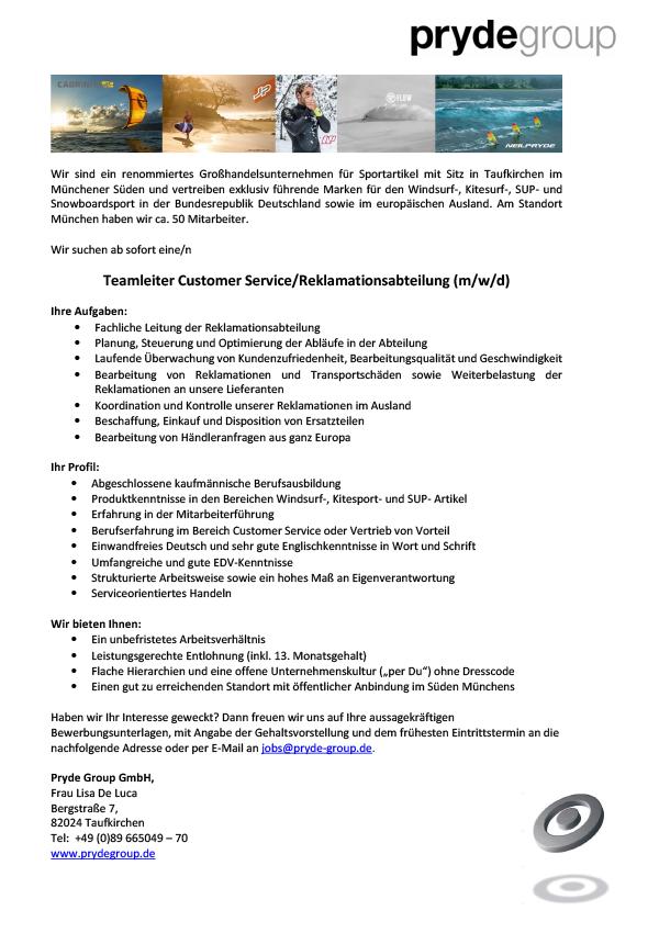 Teamleiter Customer Service / Reklamationsabteilung (m/w/d)