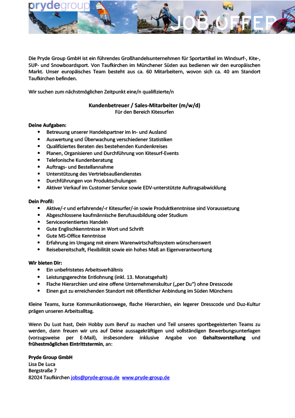 Kundenbetreuer/ Sales-Mitarbeiter Kitesurfen (m/w/d)