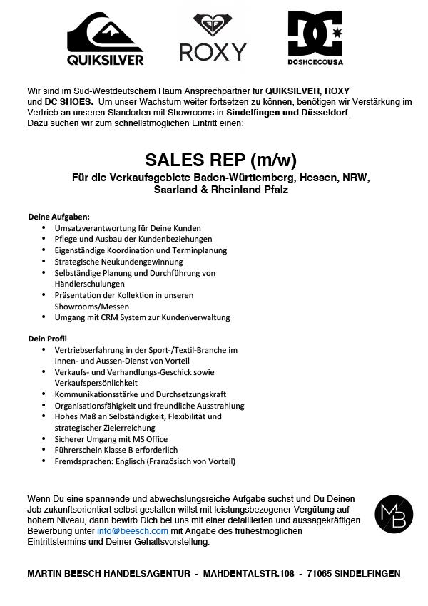 SALES REP (m/w) Gebiete: BW, HE, NRW, SL und RP