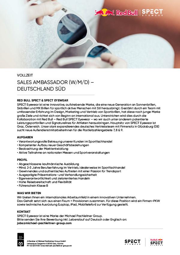 SALES AMBASSADOR (W/M/D) – DEUTSCHLAND SÜD