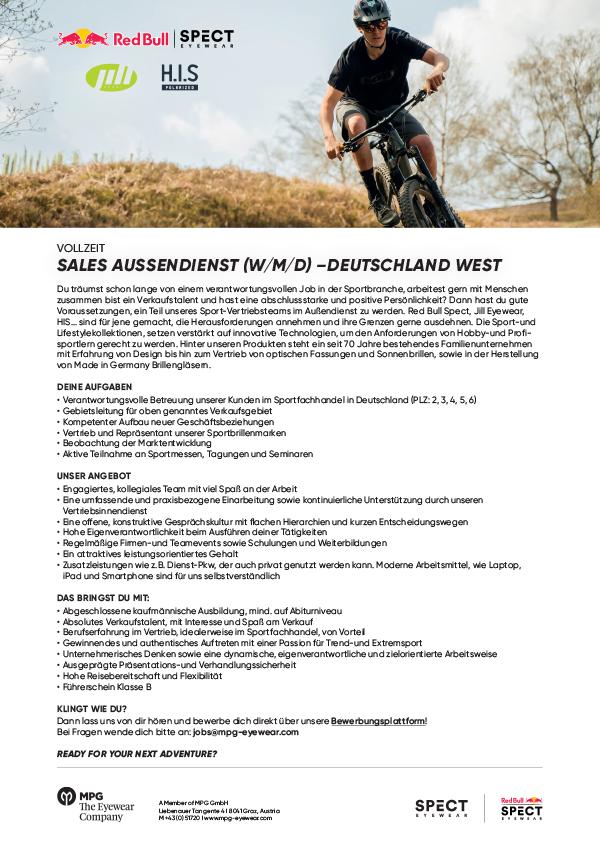 SALES AUSSENDIENST (W/M/D) –DEUTSCHLAND WEST