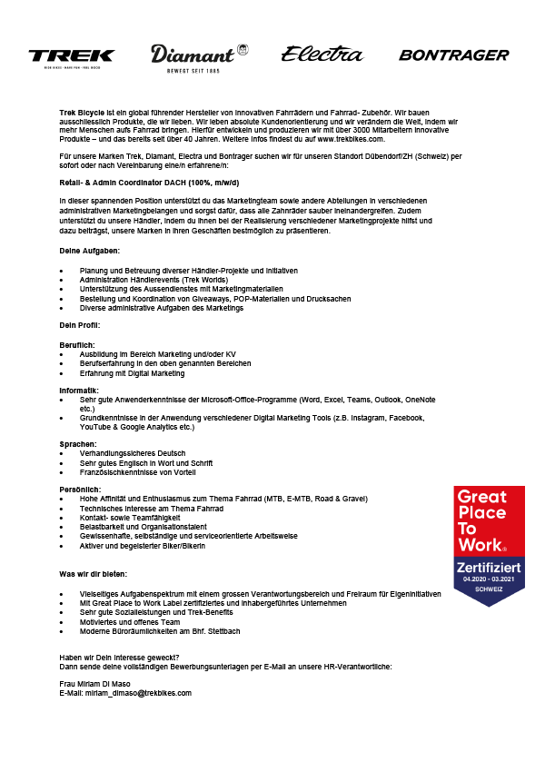 Retail- & Admin Coordinator DACH (100%, m/w/d)