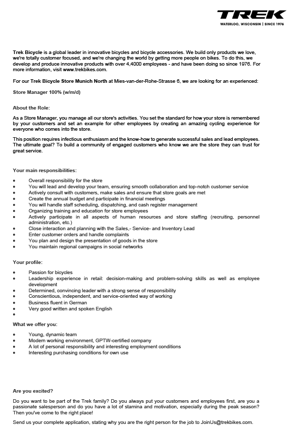 Store Manager 100% (w/m/d)