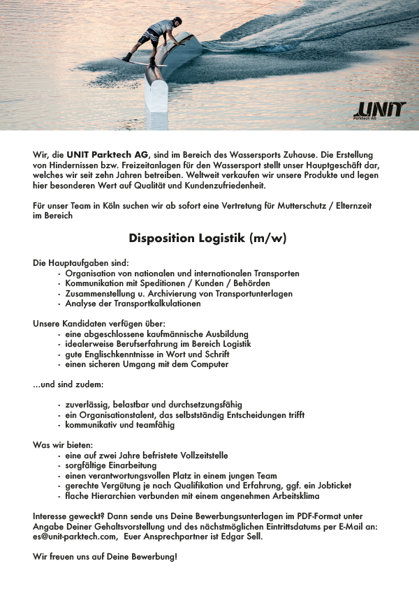 Disposition Logistik (m/w)