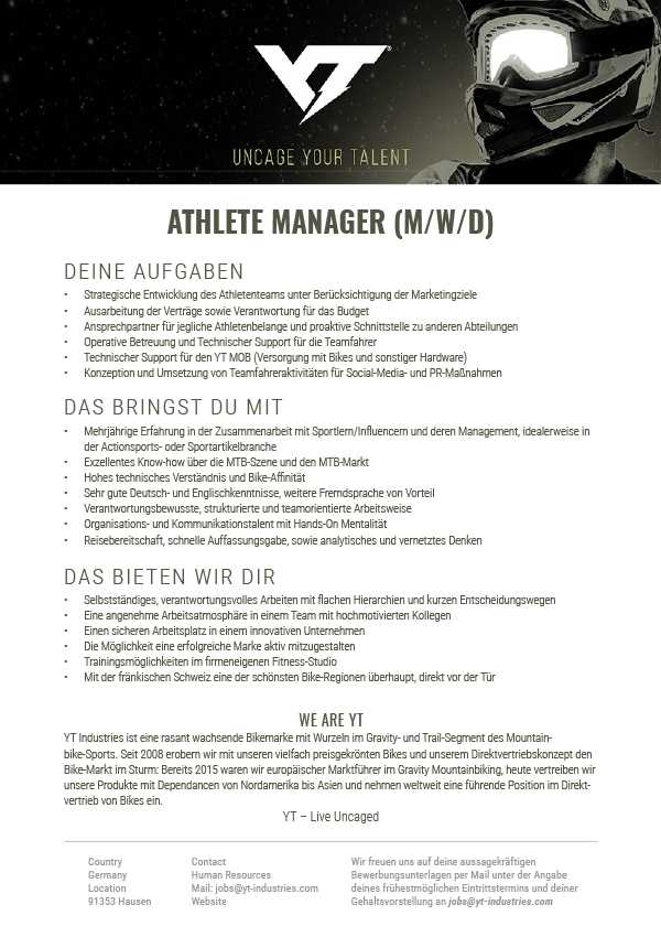 ATHLETE MANAGER (M/W/D)