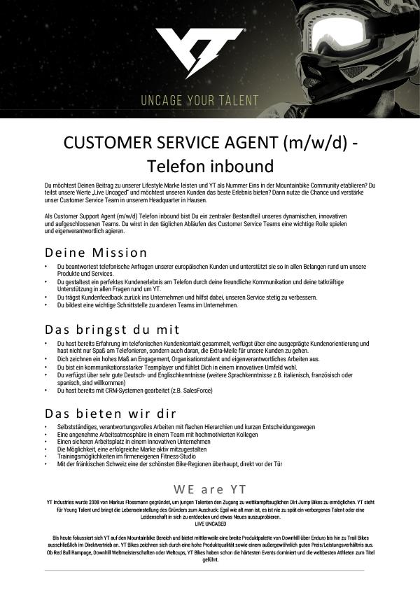 CUSTOMER SERVICE AGENT (m/w/d)