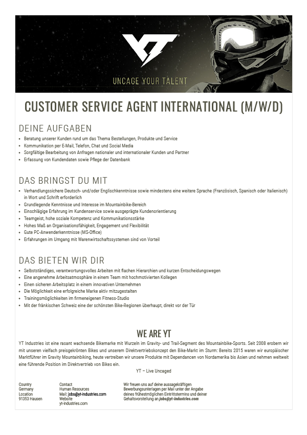 CUSTOMER SERVICE AGENT INTERNATIONAL (M/W/D)