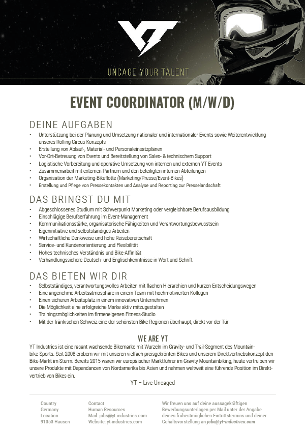 EVENT COORDINATOR (M/W/D)
