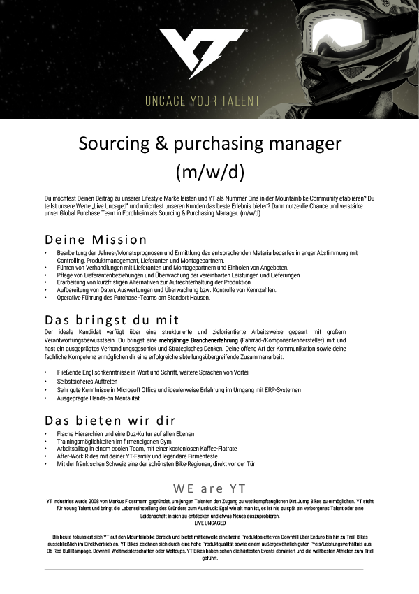 Sourcing & purchasing manager (m/w/d)