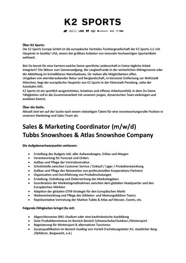 Sales & Marketing Coordinator (m/w/d) Tubbs_Snowshoes & Atlas_Snowshoe Company