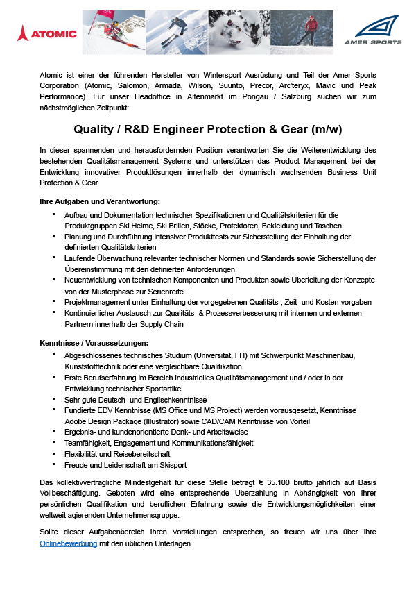 Quality / R&D Engineer Protection & Gear (m/w)