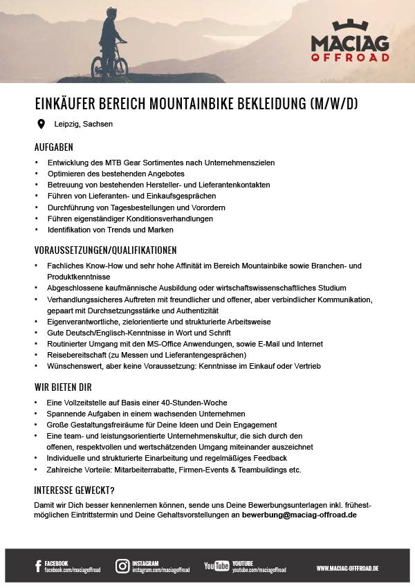 EINKÄUFER IM BEREICH MOUNTAINBIKE BEKLEIDUNG (M/W/D)