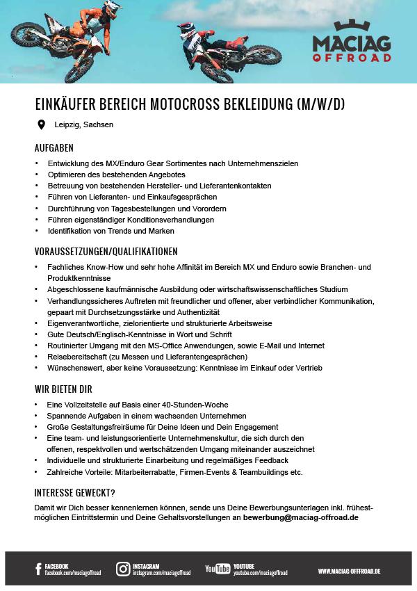 EINKÄUFER IM BEREICH MOTOCROSS BEKLEIDUNG (M/W/D)