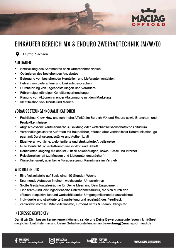 EINKÄUFER IM BEREICH MX & ENDURO ZWEIRADTECHNIK (M/W/D)