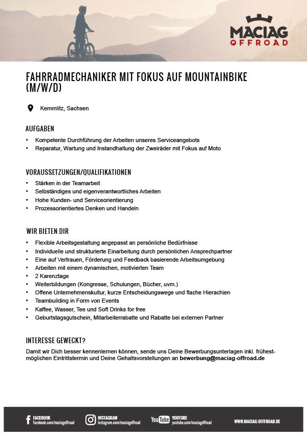 FAHRRADMECHANIKER MIT FOKUS AUF MOUNTAINBIKE (M/W/D)