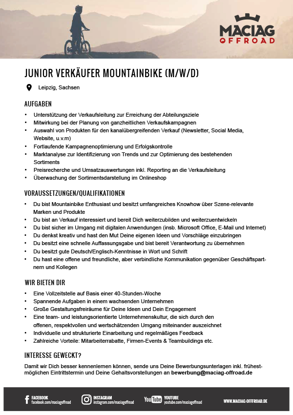 JUNIOR VERKÄUFER MOUNTAINBIKE (M/W/D)