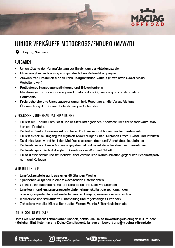 JUNIOR VERKÄUFER MOTOCROSS/ENDURO (M/W/D)