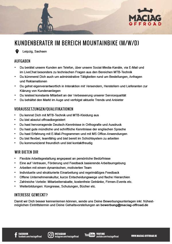 KUNDENBERATER IM BEREICH MOUNTAINBIKE (M/W/D)