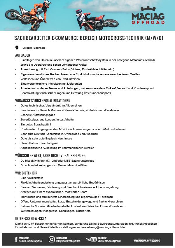 SACHBEARBEITER E‑COMMERCE BEREICH MOTOCROSS-TECHNIK (M/W/D)