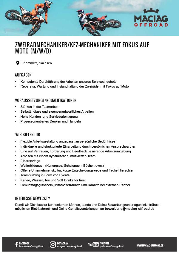 ZWEIRADMECHANIKER/KFZ-MECHANIKER MIT FOKUS AUF MOTO (M/W/D)