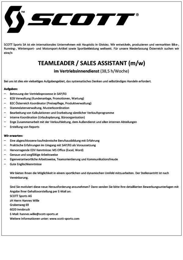 Teamleader/ Sales Assistant