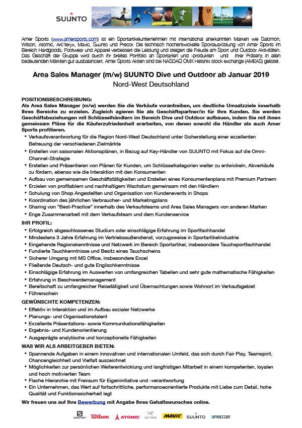 Area Sales Manager Suunto & Dive
